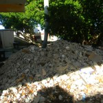 Rubble behind the rest stop (rubble was a common sight everywhere we went)