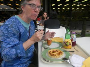 "Me enjoying the cafe lunch - check out the delicious small tomato stuffed with ""real"" tuna..."