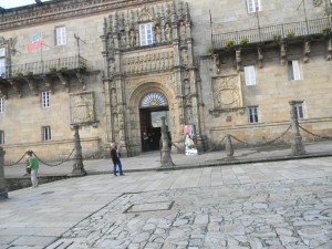 The front of the 500 year old hotel we stayed in for 2 nights - Santiago de Compostela -- right next to the cathedral!