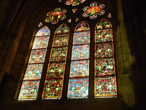 The amazing stained glass windows of the cathedral in Leon