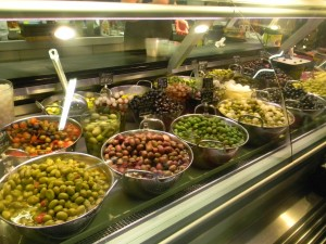 Olive stall at the market in Bilbao