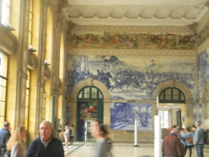 The incredible tile work inside the Porto train station - all four walls floor to ceiling.